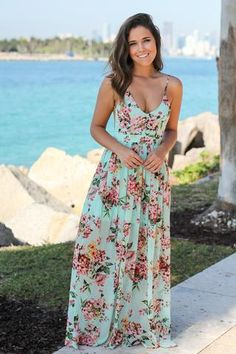 Buy this pretty Mint Floral Maxi Dress with Open Back from Saved by the Dress Boutique. Summerly, comfy and cute maxi dress that features awesome floral print! Green Maternity Dresses, Cute Maxi Dress, Floral Maxi Dress, Summer Dresses, Flowy Skirt, Jean Skirt, Summer Outfits, Maxi Skirt Tutorial, Boutique Maxi Dresses