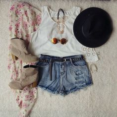 Cute denim modern shorts with top white blouse and black belt and floral cardigan and cute warm high heels boots and awesome goggles and necklace with top black hat the best summer teenage outfits