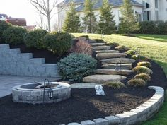 148 unordinary front garden landscaping ideas page 17 Landscape Stairs, Front Garden Landscape, House Landscape, Landscape Designs, Landscape Architecture, Landscaping A Slope, Landscaping With Rocks, Landscaping Ideas, Sloped Backyard
