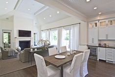 Wainscott South - traditional - family room - new york - EB Designs Open Floor House Plans, Floor Plans, Traditional Family Rooms, Hamptons Decor, Open Plan Kitchen Living Room, Up House, Luxury Interior Design, Coastal Decor, Great Rooms