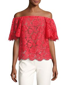 VALENTINO Off-The-Shoulder Lace Top, Red. #valentino #cloth #