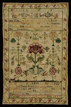 Colonial American Sampler made by Anne Wing, 1739