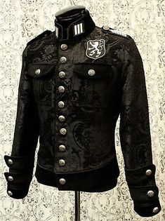 Royal Marine Jacket - Black Tapestry by Shrine Clothing Goth Mens Jackets Steampunk Mode, Style Steampunk, Steampunk Couture, Steampunk Clothing, Steampunk Fashion, Gothic Fashion, Mens Fashion, Gothic Clothing, Punk Outfits