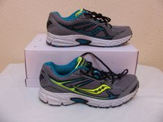 89abca35793a Saucony Cohesion 7 Shoes Size 11.5 US Style S15183-3 Grey Neon Yellow Aqua