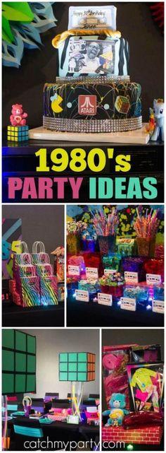 Sheryl S's Birthday / Party - Birthday Bash at Catch My Party 80s Birthday Parties, 30th Party, Birthday Ideas, 80s Theme Parties, 40th Birthday Party Themes, 35th Birthday, Great Gatsby Party, Decade Party, Party Fiesta