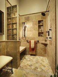 Open shower concept - bench, shelves, amber glass blocks