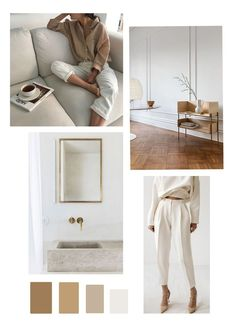 Simple, minimalist modern neutral color palette and mood board. Beige Color Palette, Neutral Colour Palette, Neutral Tones, Mood Board Interior, Mood And Tone, Colour Schemes, Color Inspiration, Moodboard Inspiration, Home Office