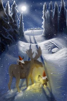 Christmas Design, Christmas Art, Winter Wonderland Lights, Pagan Yule, Christmas Cartoons, Library Design, Winter Art, Illustrations, Christmas Greeting Cards