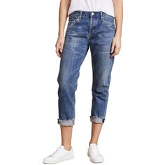 Citizens of Humanity Emerson Cuff Jeans ($270) ❤ liked on Polyvore featuring jeans, somerset, zipper jeans, cuffed jeans, patch jeans, cropped ripped jeans and distressed cropped jeans