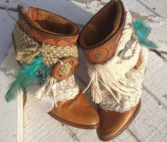 Gypsy Boots/ Boho Cowgirl Boots/ Cowgirl Shannon boots/ Western Cowboy boots/ Shabby Chic on Etsy, $235.00