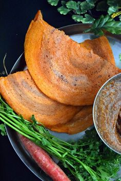 Instant Carrot & Oats Dosa/Crepes - Carrot & Oats Dosa/Crepes is an instant dosa recipe. No fermentation required and brown rice is used to make the batter. A nutritious South Indian breakfast! Indian Food Recipes, Asian Recipes, Vegetarian Recipes, Cooking Recipes, Healthy Recipes, Veg Breakfast Recipes Indian, Indian Snacks, Veggie Recipes, Breakfast Ideas