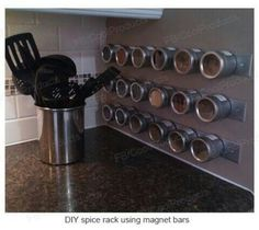 Magnetic Spice Tins Attach To Your Refrigerator - Wall mounted magnetic spice rack - clear glass spice ti Magnetic Spice Tins Attach To Your Refrigerator - Wall mounted magnetic spice rack - clear glass spice tins Diy Spice Rack, Spice Storage, Spice Organization, Organizing, Diy Kitchen, Kitchen Storage, Kitchen Design, Kitchen Without Pantry, Ikea Pantry