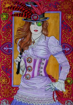 Hand Painted Steampunk Lady on Adult Coloring Book Page by Respected Artist in Vivid Colors, OOAK, Matted, Ready To Frame, Collectible