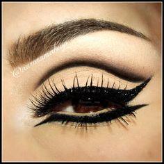 Heavy black glitter lined, cut crease and neutral eye makeup eyeshadow dark black eyes dramatic Love Makeup, Makeup Inspo, Makeup Art, Makeup Inspiration, Beauty Makeup, Makeup Looks, Hair Beauty, Makeup Ideas, Drag Makeup