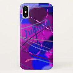 Abstract Art in Purple Pink and Blue Personalized iPhone X Case - original gifts diy cyo customize