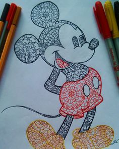 Ideas For Disney Art Painting Ideas Mickey Mouse Mandala Art, Mandala Drawing, Doodle Drawings, Doodle Art, Cute Drawings, Sharpie Drawings, Sharpie Art, Mickey Mouse Art, Mickey Mouse Tumblr