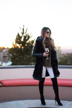 Pam Hetlinger wearing dawn levy coat, free people white jeans, delman over the knee boots, chicwish olive sweater. Thanksgiving