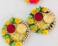 Floral Roli Chawal Platter - Indian wedding favor - Diwali Gifts - Return Gift - Excited to share this item from my shop: Floral Roli Chawal Platter – Indian wedding favor - Diwali Diya, Diwali Craft, Diwali Gifts, Indian Wedding Gifts, Wedding Gift Bags, Indian Wedding Decorations, Diwali Decoration Items, Thali Decoration Ideas, Mehendi