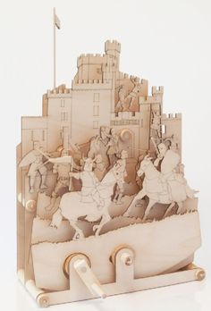 Timberkits Medieval Mayhem Self Assembly Wooden Construction Moving Model Kit from Hobbies Wooden Model Kits, Another A, Knight In Shining Armor, Sustainable Forestry, Medieval Castle, Acrylic Box, Automata, Wooden Puzzles, Wood Construction