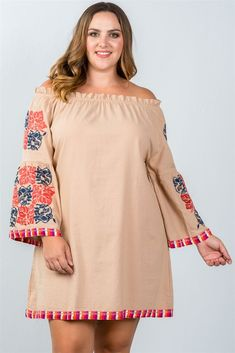 377962899aa7 Bohemian Floral Embroidered Mini Dress Plus Size Fashion Dresses, Plus Size  Mini Dresses, Plus