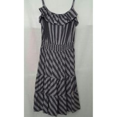 ELLA MOSS SUNDRESS Ella Moss sundress with muted gray and purple striping. Size L.  Ruffle accent at bustline. Spaghetti strap. Elastic waist.  Flaired A line skirting. 42% Cotton 50% Tencel 8% Lycra.  EUC. Accessories shown are sold separately. Ella Moss Dresses Strapless