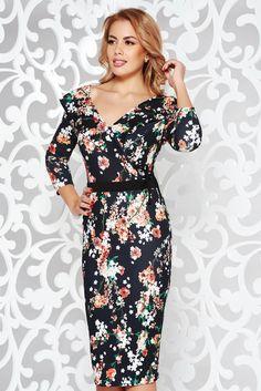 StarShinerS black elegant pencil dress slightly elastic fabric with v-neckline 3d Prints, Floral Prints, October 19, Double Knitting, Pencil Dress, Ribbon, Vibrant, Neckline, Band