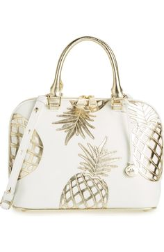 and returns on Brahmin 'Vivian' Leather Dome Satchel at . Metallic pineapple appliqués add eye-catching tropical flair to a structured dome satchel shaped from richly pebbled leather with a versatile crossbody strap. Cute Bags, Pebbled Leather, White Leather, Purse Wallet, Purses And Handbags, Fashion Accessories, Nordstrom, My Style, Stuff To Buy