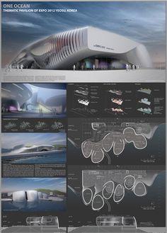 Yeosu Expo 2012 thematic pavilion by WAN Editorial in Yeosu, Korea Architecture Panel, Architecture Portfolio, Concept Architecture, Architecture Design, Presentation Board Design, Architecture Presentation Board, Yeosu, University Architecture, Presentation Techniques