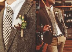 I don't know much about grooms' fashion, but this looks great. The jacket's got a nice texture to it, and the boutonniere is more interesting to look at than the traditional flower ones. I can also appreciate the...