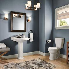 See this beautiful bathroom with walls painted Back To Nature by Behr. White pedestal sink and white trim make this gorgeous green color pop! Style At Home, Home Fashion, Home Depot, House Styles, Small Bathroom Paint Colors, Blue Bathroom Paint, Blue Bathrooms, Blue Bathroom Decor, Bathroom Color Schemes