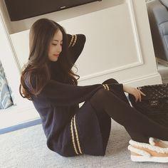 Girls 2015 new winter long section long-sleeved knit dress flouncing Korean version of a thin stripe dress tide