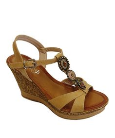 This Tan Jean Wedge Sandal by Westwood Footwear is perfect! #zulilyfinds