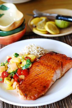 Salmon with mango salsa and rice.