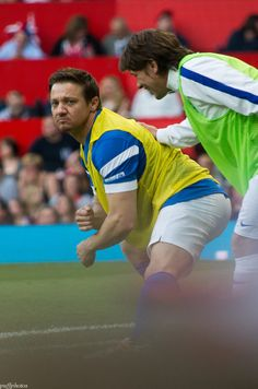 Stretching Renner and his signature butt. @socceraid #JeremyRenner Cr.puffability.tumblr.com