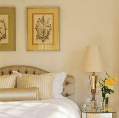 Sweet gold and cream blend beautifully at the bed - Traditional Home®