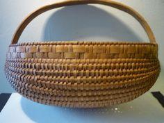 Vintage  Handmade Basket  Flat Hanging Basket  1920s by JVoyage, $34.95