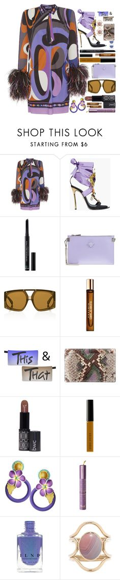 """""""Flamboyant"""" by sunnydays4everkh ❤ liked on Polyvore featuring Emilio Pucci, Dsquared2, Christian Dior, Versace, Karen Walker, Elizabeth and James, Sergio Rossi, Bobbi Brown Cosmetics and Mociun"""