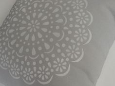 """""""White Doily"""" 41cm cushion 100% cotton. Hand-printed and handmade by Claire Webber, Hobart, Tasmania.  For more info email: webberclaire1@gmail.com"""