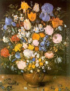 Jan The Elder Brueghel : Bouquet of Flowers in a Clay Vase (Bouquet of Viennese Irises)