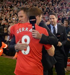 Steven Gerrard is embraced by Jamie Carragher as Jamie Redknapp looks on. Anfield, Saturday May Liverpool Legends, Liverpool Players, Liverpool Fans, Liverpool Football Club, Liverpool Captain, Premier League Soccer, Premier League Champions, Barclay Premier League, Premier League Matches
