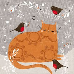 Christmas Ginger Cat Christmas Cards
