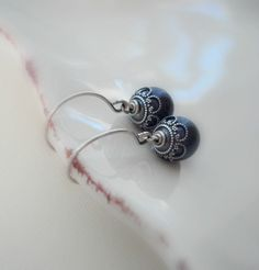Navy Blue Pearl Silver Earrings Wedding Jewelry by AnechkasJewelry, $17.00