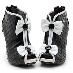 High heel shoes - Black and white shoes-3
