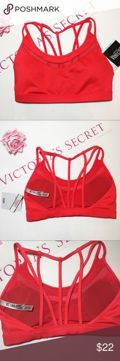 New! VS Red Mesh-Trim Strappy Back Sports Bra NWT Victoria's Secret Red Sports Bra. Cute sheer mesh trim. Strappy Back. Light Removable Padding!                                           🎀Brand New with Tags!                                         🎀Check out my Closet for More VICTORIAS SECRET & PINK Items!!                                          🎀Bundle & Save! Victoria's Secret Intimates & Sleepwear Bras