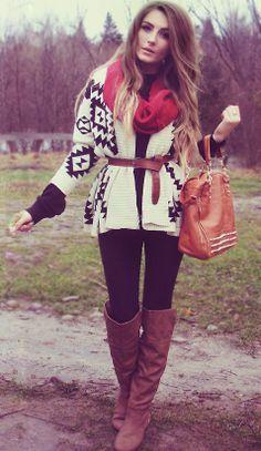 white and black aztec cardigan, black long sleeve shirt, black leggings, brown knee boots, brown belt, red infinity scarf