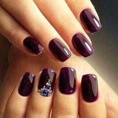 Autumn nails, Beautiful dark nails, Dark nails, Dark purple nails, Dark short nails, Evening nails by shellac, Festive violet nails, Ideas of plum nails