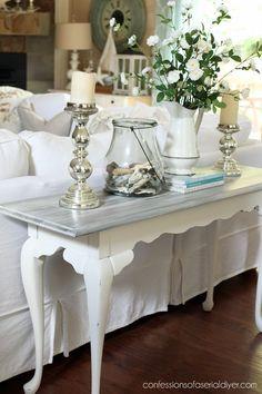 36 Popular Farmhouse Sofa Table Design Ideas For Your Living Room Decor Sofa Table Design, Sofa Table Decor, Sofa Tables, White Sofa Table, Entry Tables, Sofa Chair, Furniture Design, Refurbished Furniture, Furniture Makeover