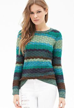 Textured Stripe Crew Neck Sweater   FOREVER21 - 2000059191