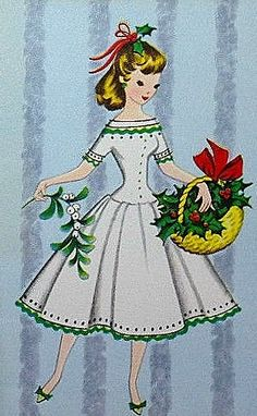 Vintage Christmas card with young woman carrying a basket of holiday greenery.