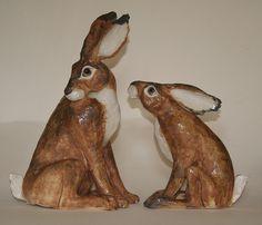 Joanna Roby's ceramic hares www.craftshopbantry.com Craft Shop, Ceramics, Christmas Ornaments, Holiday Decor, Crafts, Shopping, Home Decor, Ceramica, Pottery